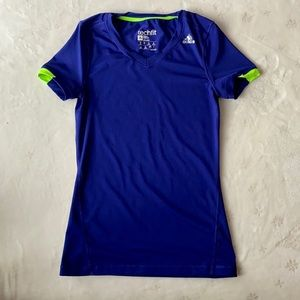 Adidas Purple Tech Fit Fitted T-shirt, Size XS